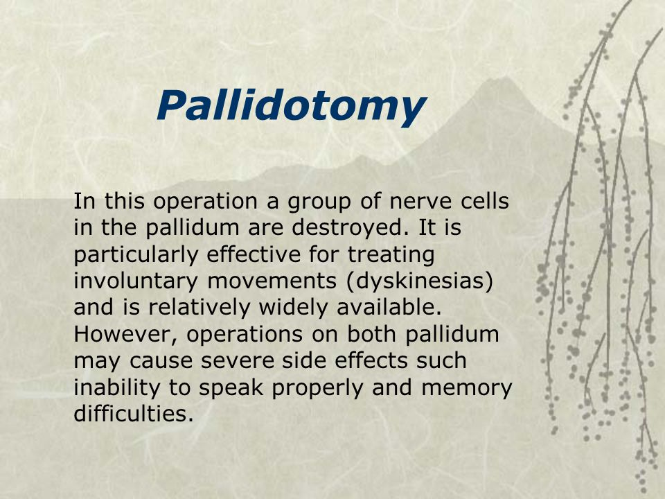 Pallidotomy In this operation a group of nerve cells in the pallidum are destroyed. It is particularly effective for treating involuntary movements (d