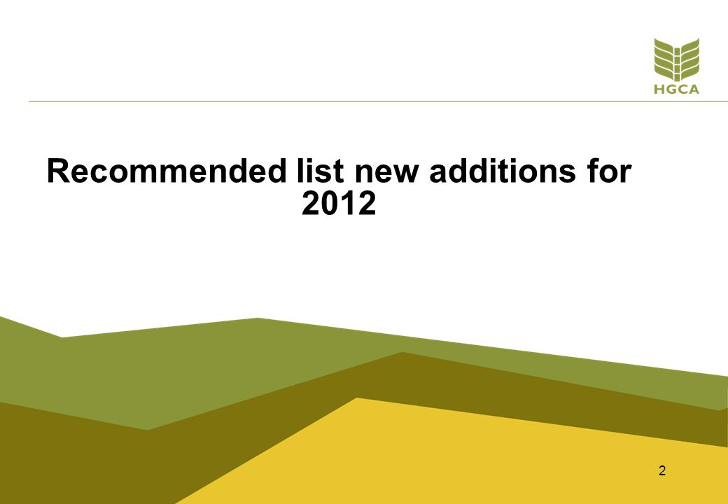 2 Recommended list new additions for 2012
