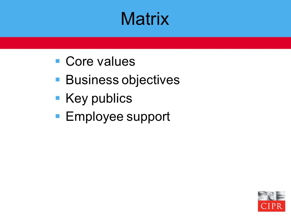 Matrix  Core values  Business objectives  Key publics  Employee support