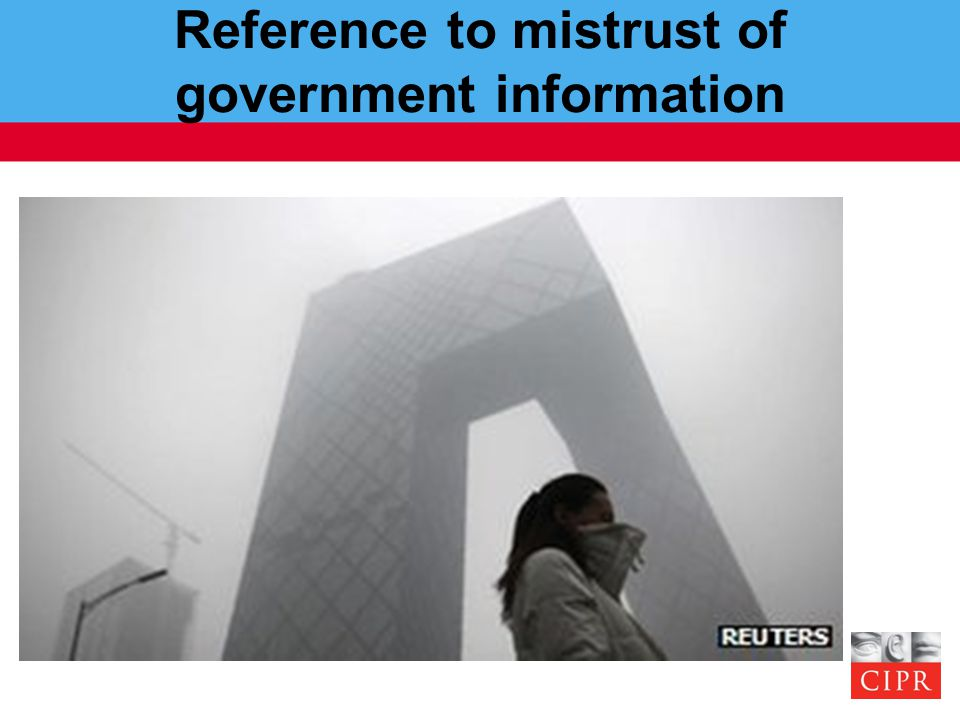 Reference to mistrust of government information