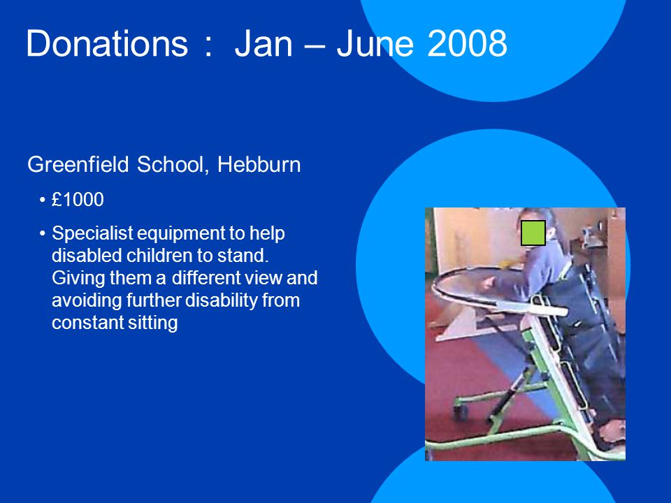 Donations : Jan – June 2008 Greenfield School, Hebburn £1000 Specialist equipment to help disabled children to stand.