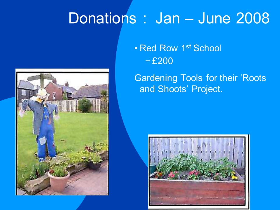 Donations : Jan – June 2008 Red Row 1 st School −£200 Gardening Tools for their 'Roots and Shoots' Project.
