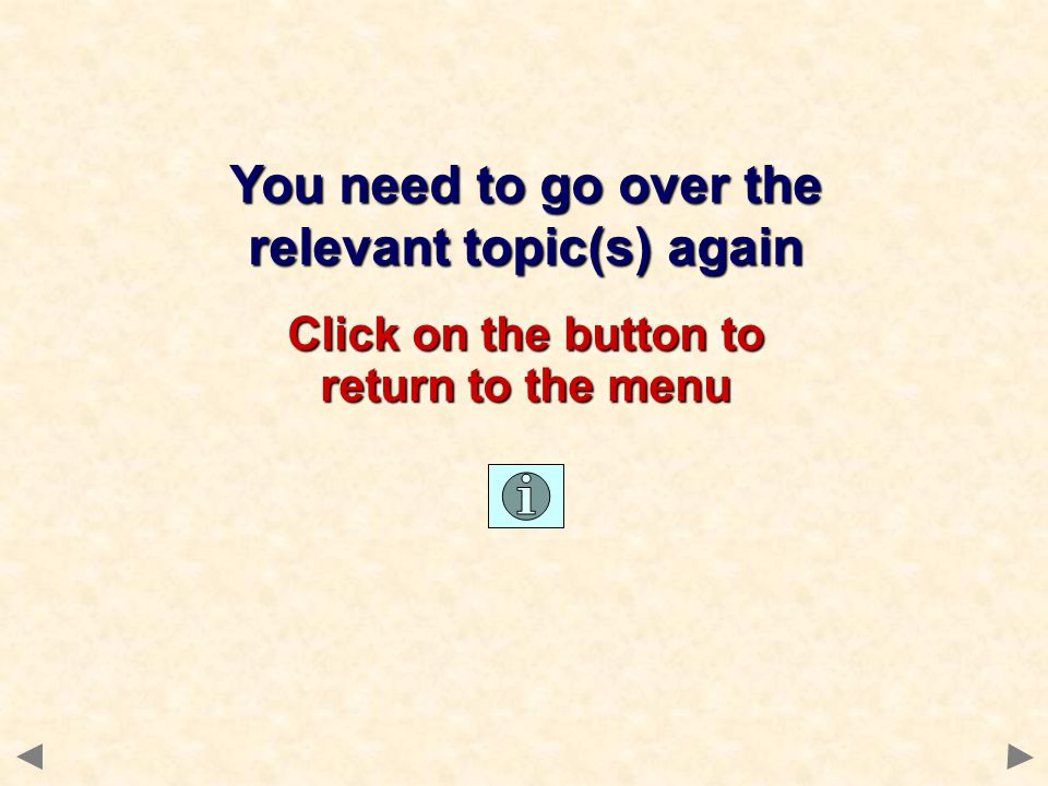 You need to go over the relevant topic(s) again Click on the button to return to the menu