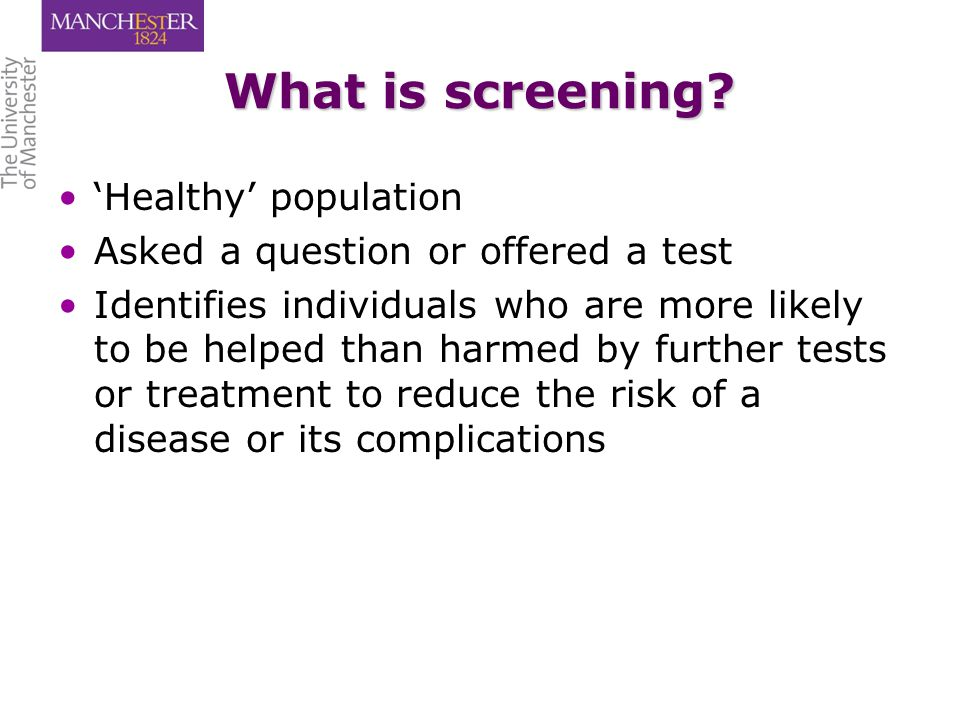 What is screening.
