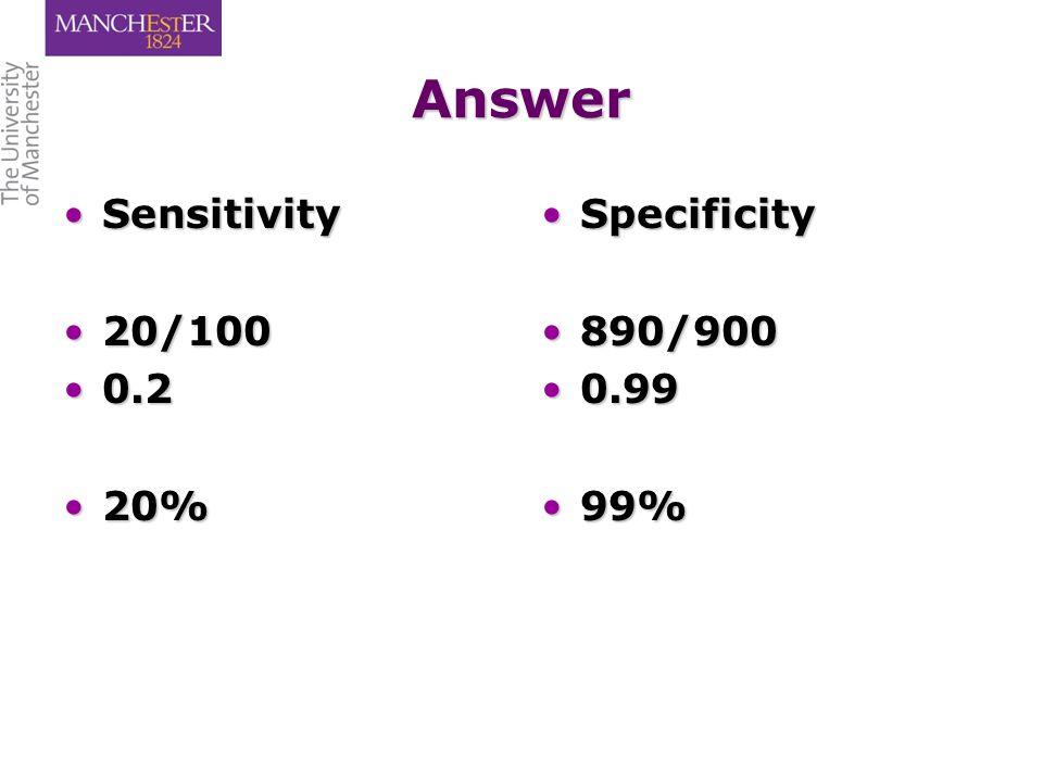 Answer SensitivitySensitivity 20/10020/100 0.20.2 20%20% Specificity 890/900 0.99 99%