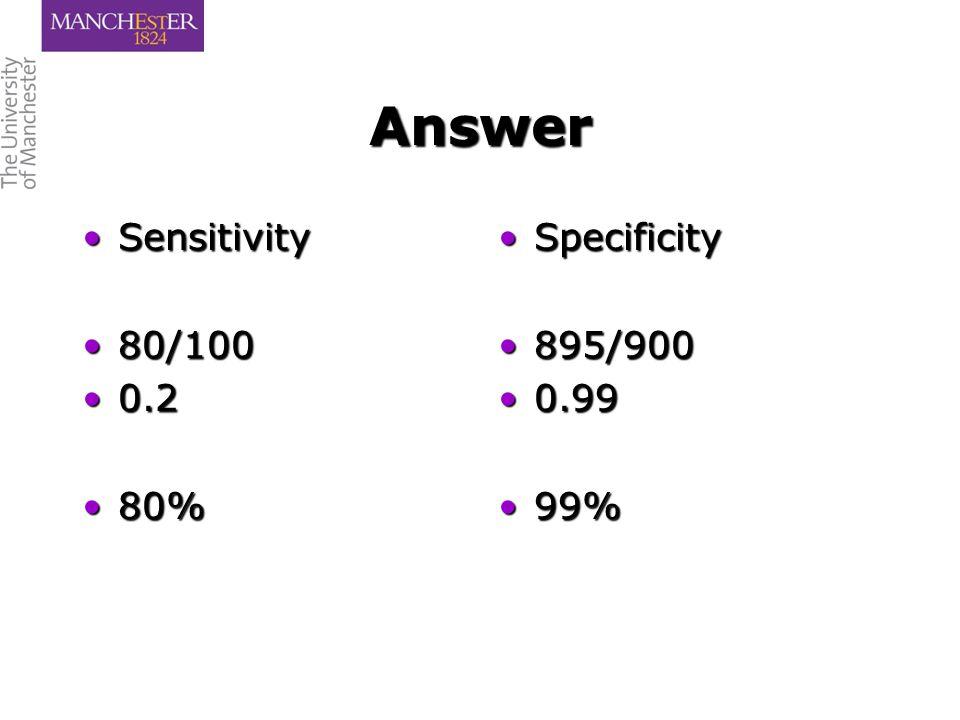 Answer SensitivitySensitivity 80/10080/100 0.20.2 80%80% SpecificitySpecificity 895/900895/900 0.990.99 99%99%