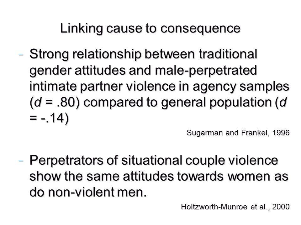 Linking cause to consequence - Strong relationship between traditional gender attitudes and male-perpetrated intimate partner violence in agency samples (d =.80) compared to general population (d = -.14) Sugarman and Frankel, 1996 - Perpetrators of situational couple violence show the same attitudes towards women as do non-violent men.