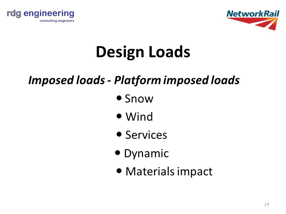 Design Loads Imposed loads - Platform imposed loads Snow Wind Services Dynamic Materials impact 24