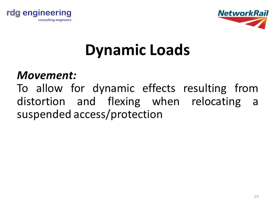Dynamic Loads Movement: To allow for dynamic effects resulting from distortion and flexing when relocating a suspended access/protection 29