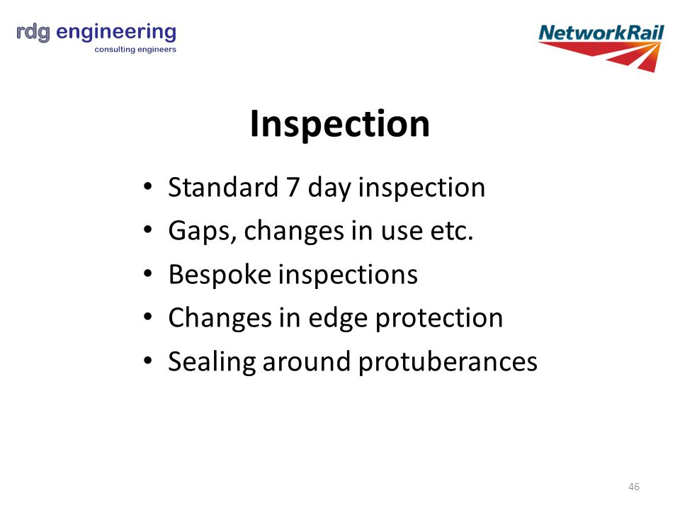 Standard 7 day inspection Gaps, changes in use etc.