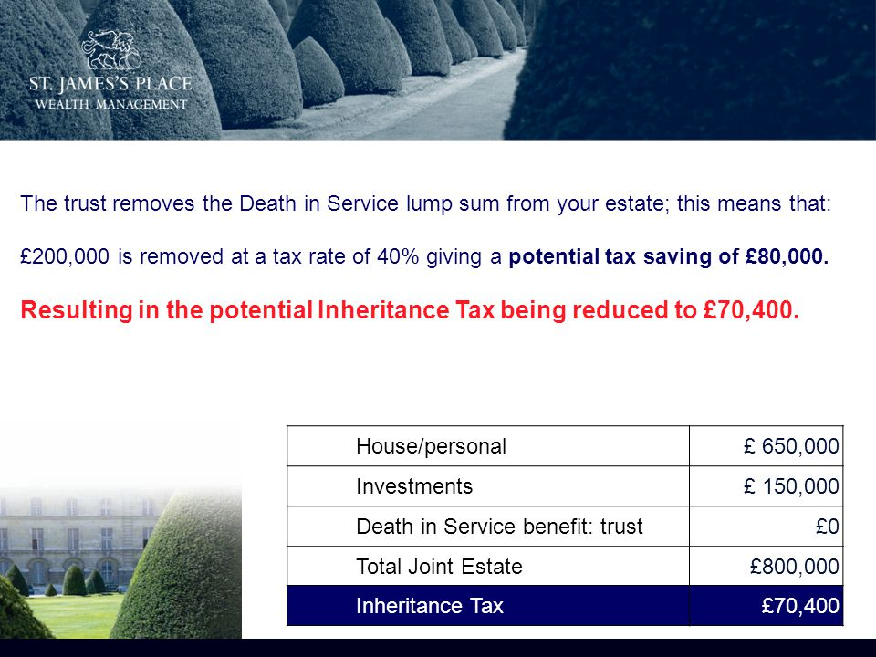 House/personal£ 650,000 Investments£ 150,000 Death in Service benefit: trust£0 Total Joint Estate£800,000 Inheritance Tax£70,400 The trust removes the Death in Service lump sum from your estate; this means that: £200,000 is removed at a tax rate of 40% giving a potential tax saving of £80,000.