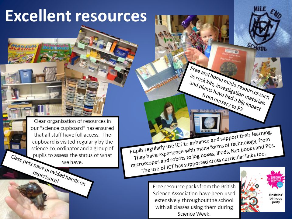 Excellent resources Clear organisation of resources in our science cupboard has ensured that all staff have full access.