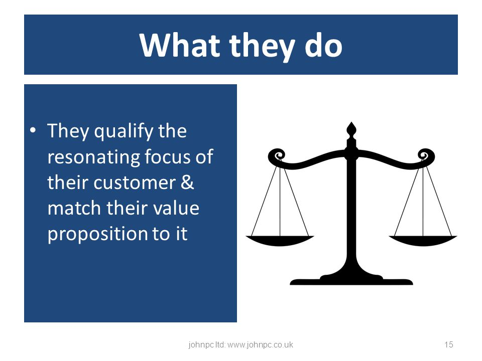 They qualify the resonating focus of their customer & match their value proposition to it johnpc ltd: www.johnpc.co.uk15 What they do