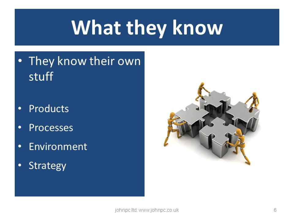They know their own stuff Products Processes Environment Strategy johnpc ltd: www.johnpc.co.uk6 What they know