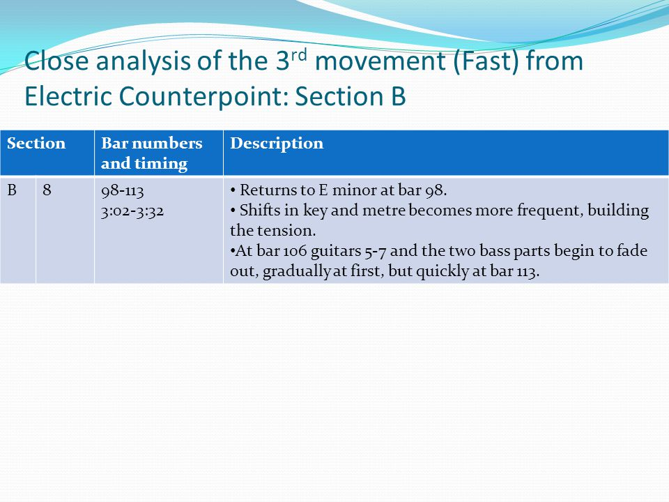 Close analysis of the 3 rd movement (Fast) from Electric Counterpoint: Section A SectionBar numbers and timing Description CODACODA 9114-140 3:32-4:24 By bar 114 the texture has returned to the four-part canon of ostinato 1 in guitars 1-4 with the live guitar part playing resultant melodies.