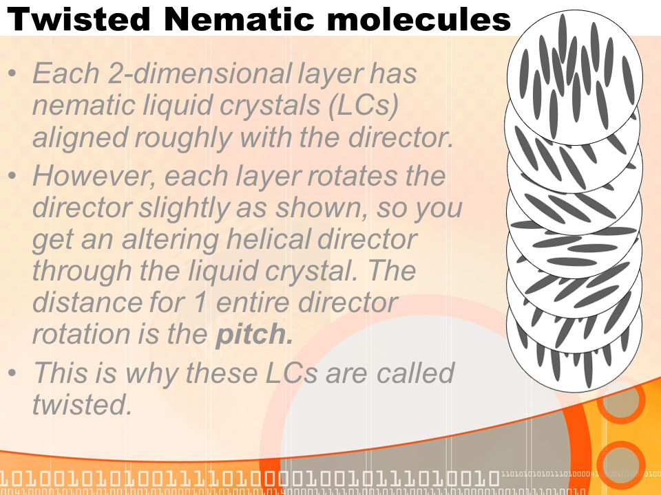 Twisted Nematic molecules Each 2-dimensional layer has nematic liquid crystals (LCs) aligned roughly with the director. However, each layer rotates th