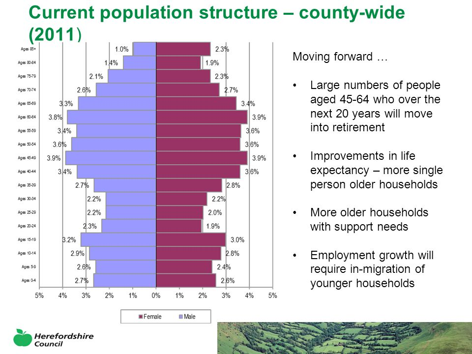 Current population structure – county-wide (2011) Moving forward … Large numbers of people aged 45-64 who over the next 20 years will move into retirement Improvements in life expectancy – more single person older households More older households with support needs Employment growth will require in-migration of younger households