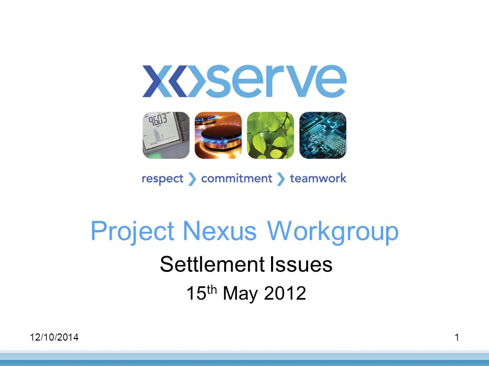 12/10/20141 Project Nexus Workgroup Settlement Issues 15 th May 2012