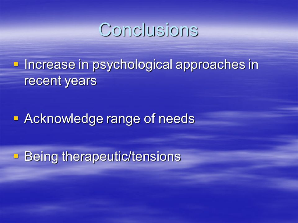 Futures  Professional regulations  Increase in psychological approaches