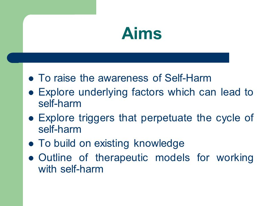 Aims To raise the awareness of Self-Harm Explore underlying factors which can lead to self-harm Explore triggers that perpetuate the cycle of self-harm To build on existing knowledge Outline of therapeutic models for working with self-harm