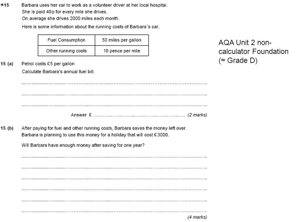 AQA Unit 2 non- calculator Foundation (≈ Grade D)