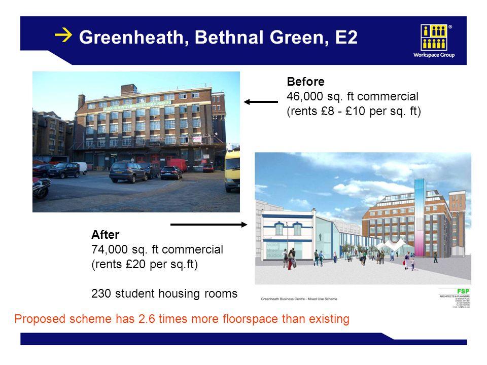 32 Greenheath, Bethnal Green, E2 Before 46,000 sq. ft commercial (rents £8 - £10 per sq. ft) After 74,000 sq. ft commercial (rents £20 per sq.ft) 230