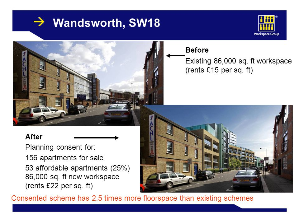 33 Wandsworth, SW18 Before Existing 86,000 sq. ft workspace (rents £15 per sq. ft) After Planning consent for: 156 apartments for sale 53 affordable a