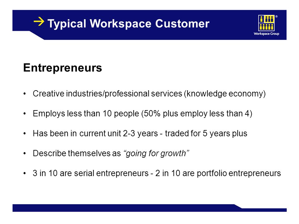 9 Typical Workspace Customer Entrepreneurs Creative industries/professional services (knowledge economy) Employs less than 10 people (50% plus employ less than 4) Has been in current unit 2-3 years - traded for 5 years plus Describe themselves as going for growth 3 in 10 are serial entrepreneurs - 2 in 10 are portfolio entrepreneurs