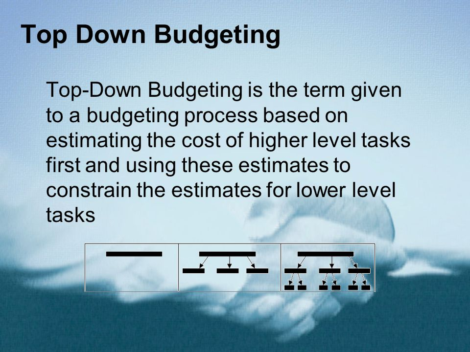 Top Down Budgeting Top-Down Budgeting is the term given to a budgeting process based on estimating the cost of higher level tasks first and using these estimates to constrain the estimates for lower level tasks