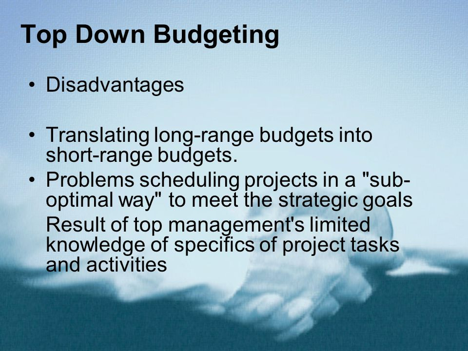 Disadvantages Translating long-range budgets into short-range budgets. Problems scheduling projects in a