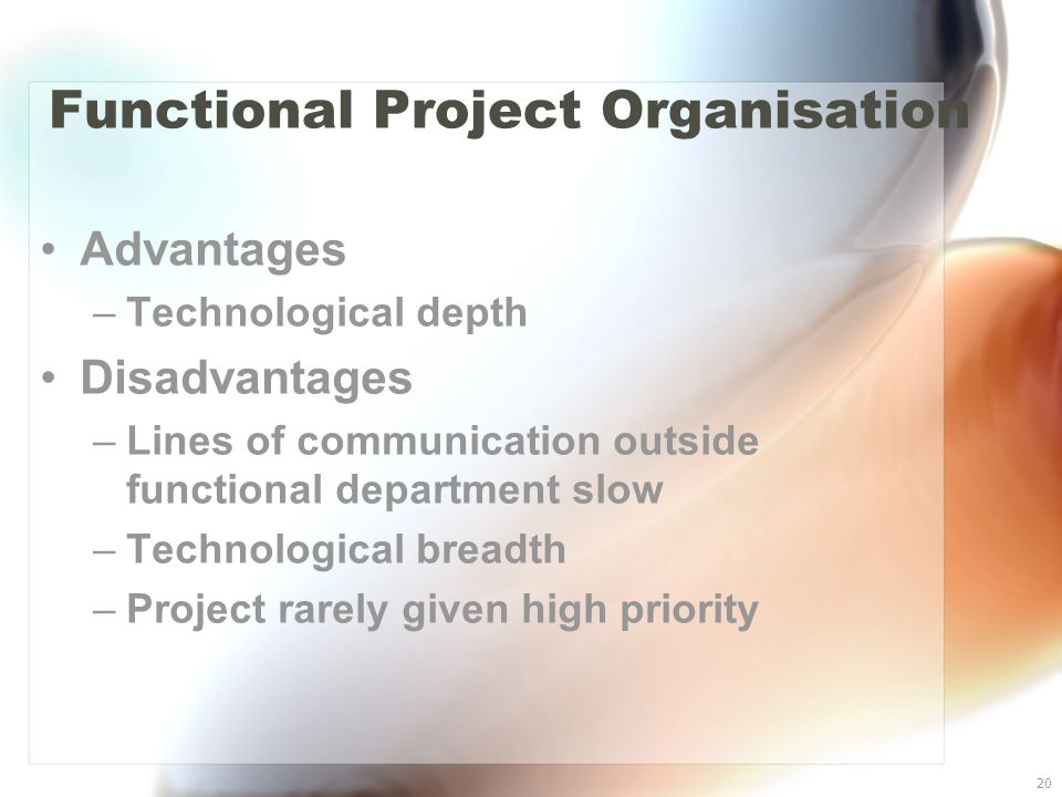20 Functional Project Organisation Advantages –Technological depth Disadvantages –Lines of communication outside functional department slow –Technolog