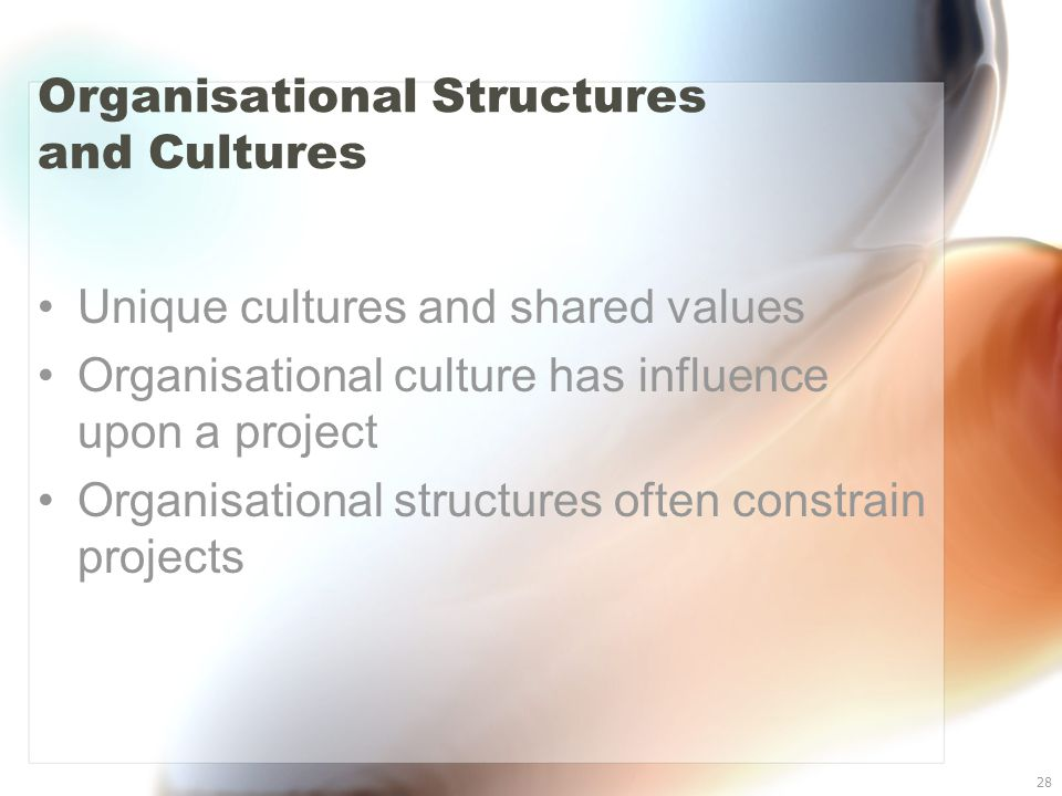 28 Organisational Structures and Cultures Unique cultures and shared values Organisational culture has influence upon a project Organisational structu