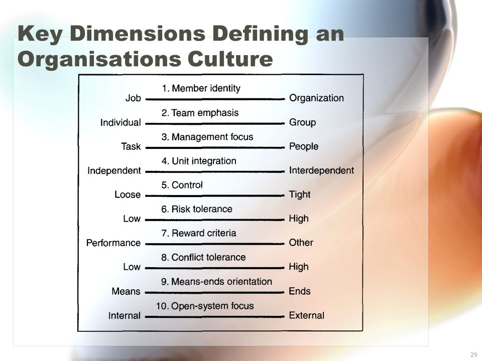 29 Key Dimensions Defining an Organisations Culture
