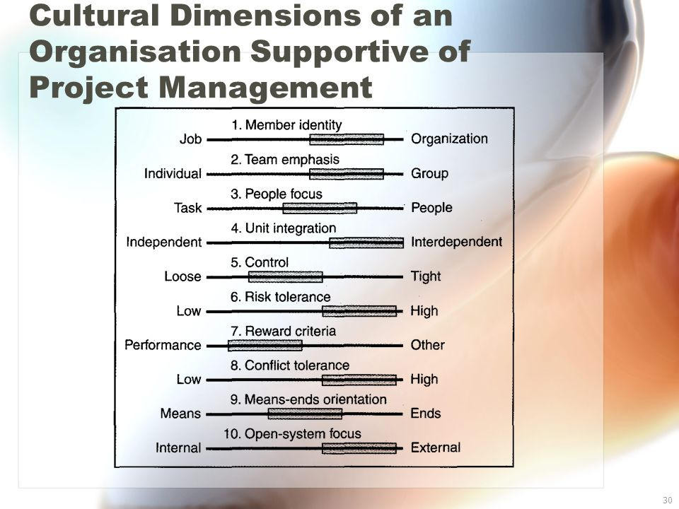 30 Cultural Dimensions of an Organisation Supportive of Project Management
