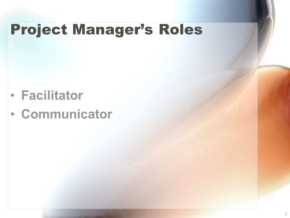 5 Project Manager's Roles Facilitator Communicator
