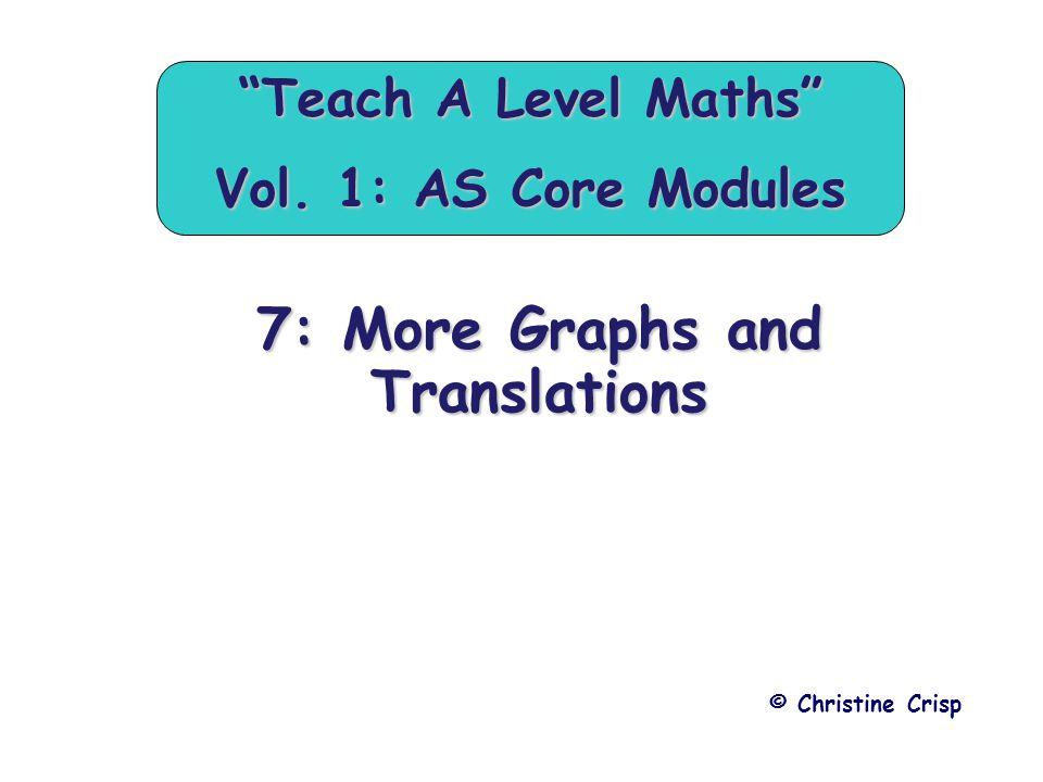 "7: More Graphs and Translations © Christine Crisp ""Teach A Level Maths"" Vol. 1: AS Core Modules"