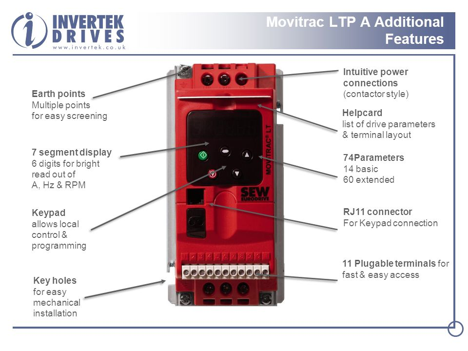 Movitrac LTP A Additional Features Helpcard list of drive parameters & terminal layout RJ11 connector For Keypad connection Intuitive power connections (contactor style) Keypad allows local control & programming 11 Plugable terminals for fast & easy access Earth points Multiple points for easy screening 74Parameters 14 basic 60 extended Key holes for easy mechanical installation 7 segment display 6 digits for bright read out of A, Hz & RPM