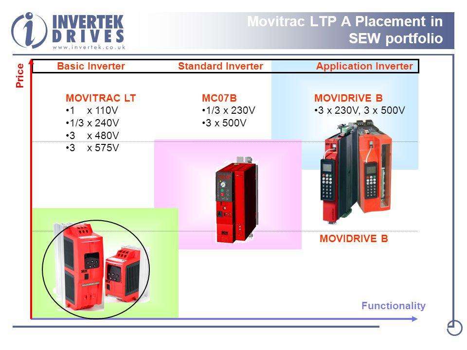 Basic Inverter Standard Inverter Application Inverter Functionality Price MOVIDRIVE B MC07B 1/3 x 230V 3 x 500V MOVIDRIVE B 3 x 230V, 3 x 500V MOVITRAC LT 1 x 110V 1/3 x 240V 3 x 480V 3 x 575V Movitrac LTP A Placement in SEW portfolio