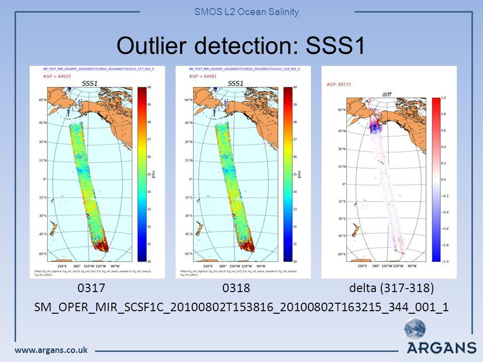 www.argans.co.uk SMOS L2 Ocean Salinity Outlier detection: SSS1 03170318 delta (317-318) SM_OPER_MIR_SCSF1C_20100802T153816_20100802T163215_344_001_1