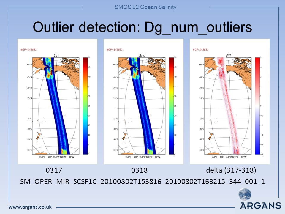 www.argans.co.uk SMOS L2 Ocean Salinity Outlier detection: Dg_num_outliers 03170318 delta (317-318) SM_OPER_MIR_SCSF1C_20100802T153816_20100802T163215_344_001_1
