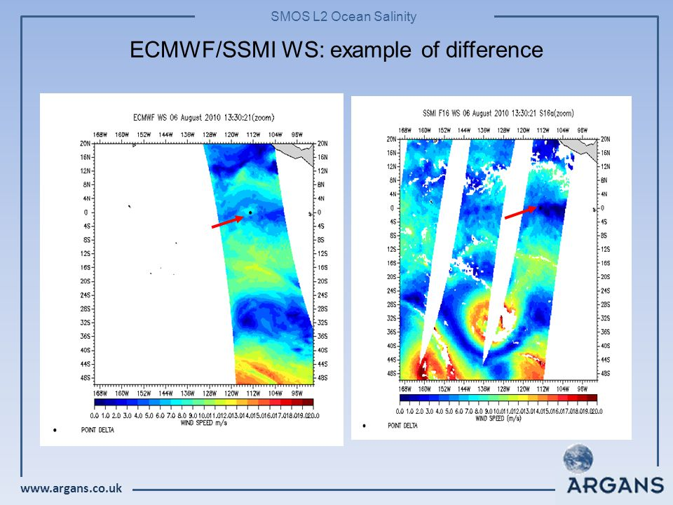 www.argans.co.uk SMOS L2 Ocean Salinity ECMWF/SSMI WS: example of difference