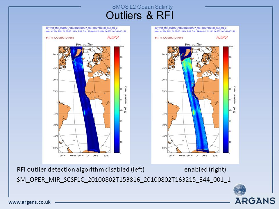 www.argans.co.uk SMOS L2 Ocean Salinity Outliers & RFI RFI outlier detection algorithm disabled (left)enabled (right) SM_OPER_MIR_SCSF1C_20100802T153816_20100802T163215_344_001_1