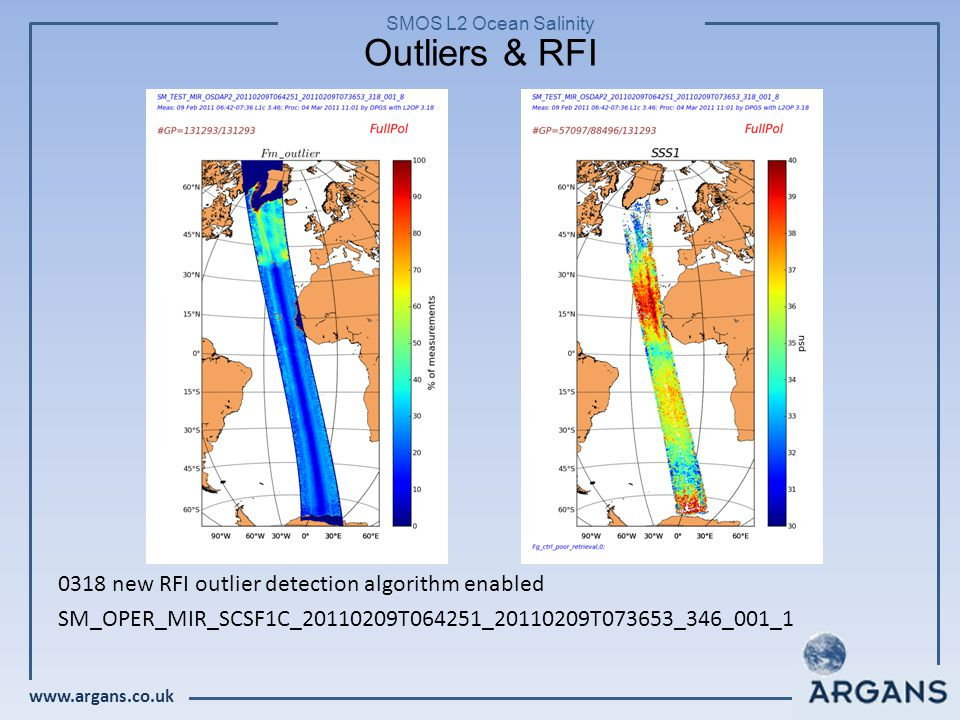www.argans.co.uk SMOS L2 Ocean Salinity Outliers & RFI 0318 new RFI outlier detection algorithm enabled SM_OPER_MIR_SCSF1C_20110209T064251_20110209T073653_346_001_1