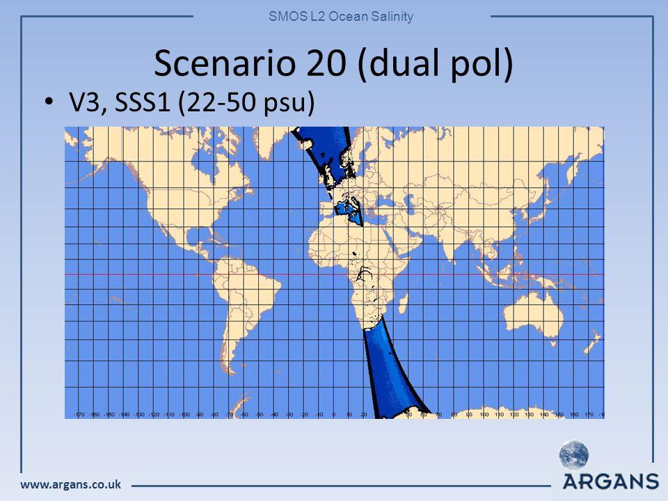 www.argans.co.uk SMOS L2 Ocean Salinity Scenario 20 (dual pol) V3, SSS1 (22-50 psu)