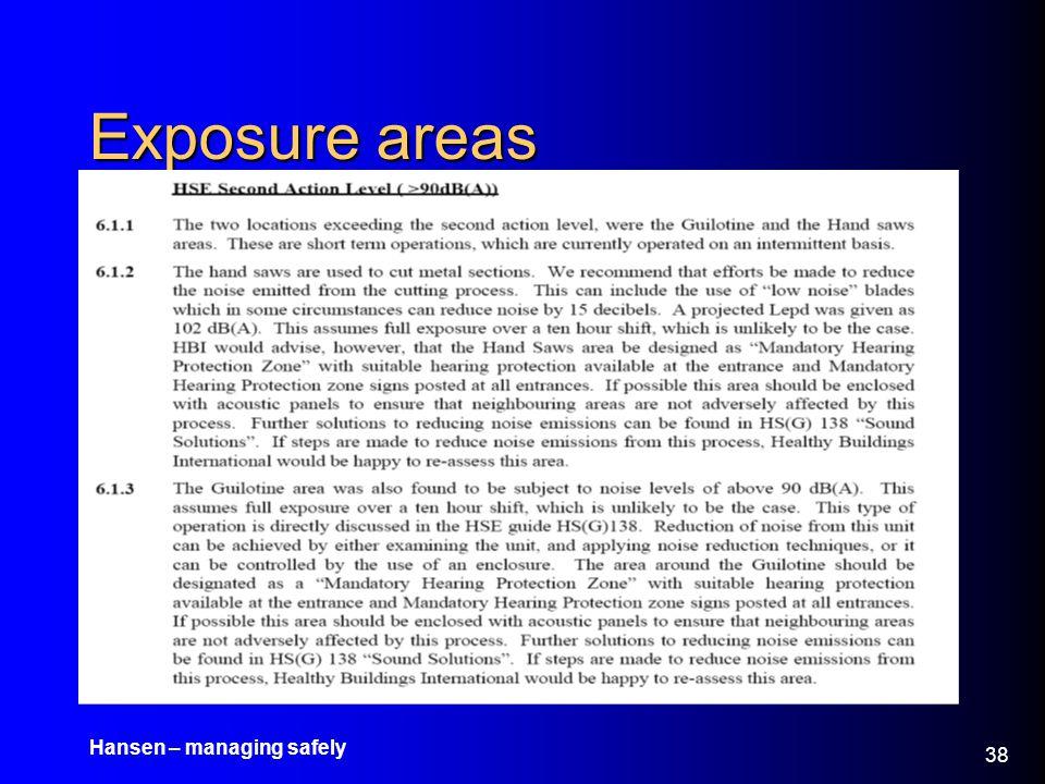 Hansen – managing safely 38 Exposure areas