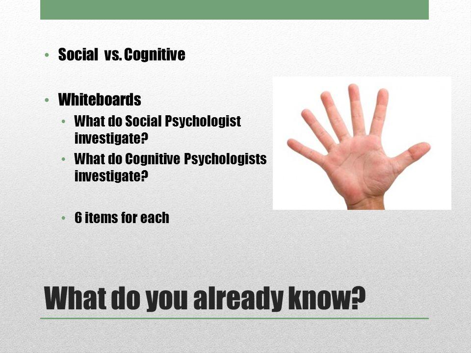 What do you already know. Social vs.