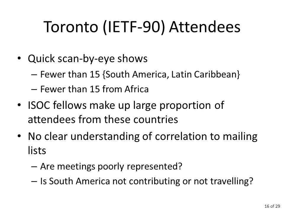 Toronto (IETF-90) Attendees Quick scan-by-eye shows – Fewer than 15 {South America, Latin Caribbean} – Fewer than 15 from Africa ISOC fellows make up large proportion of attendees from these countries No clear understanding of correlation to mailing lists – Are meetings poorly represented.