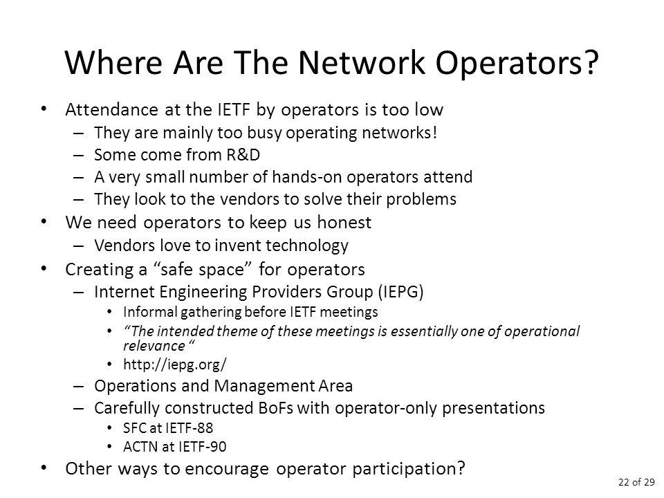 Where Are The Network Operators.