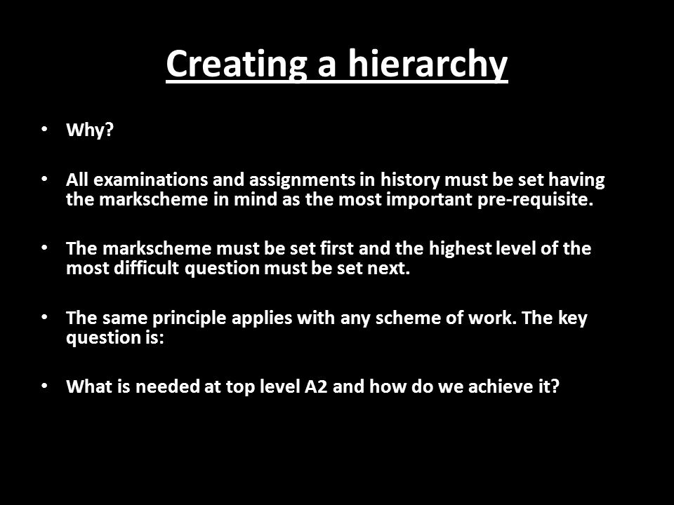 Creating a hierarchy Why.