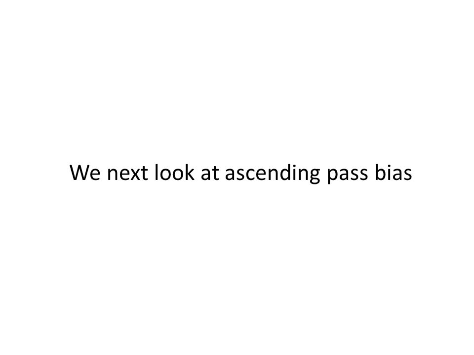 We next look at ascending pass bias